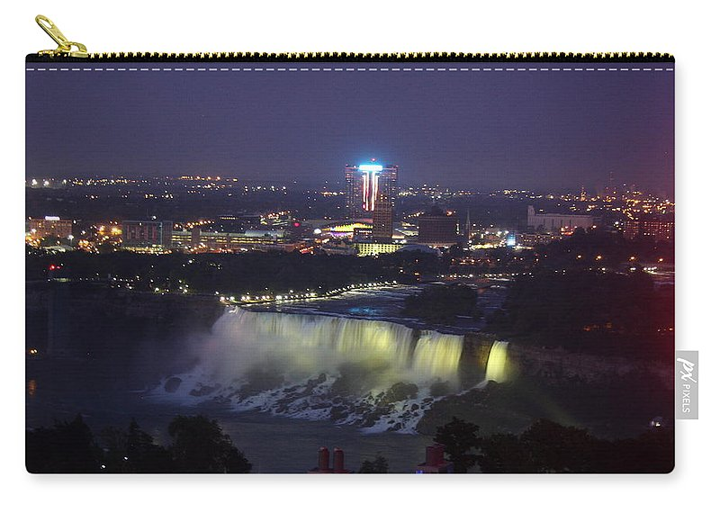 Niagara Falls Carry-all Pouch featuring the photograph Yellow Light Over The Niagara Falls - Canada by Christiane Schulze Art And Photography