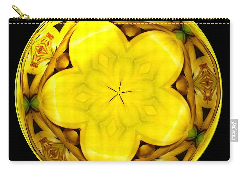 Yellow Lily Carry-all Pouch featuring the photograph Yellow Lily Kaleidoscope Under Glass by Rose Santuci-Sofranko