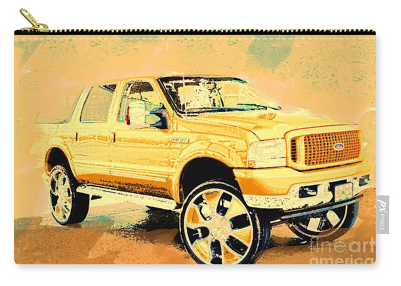Suv Carry-all Pouch featuring the photograph Yellow Suv by Debbie Portwood