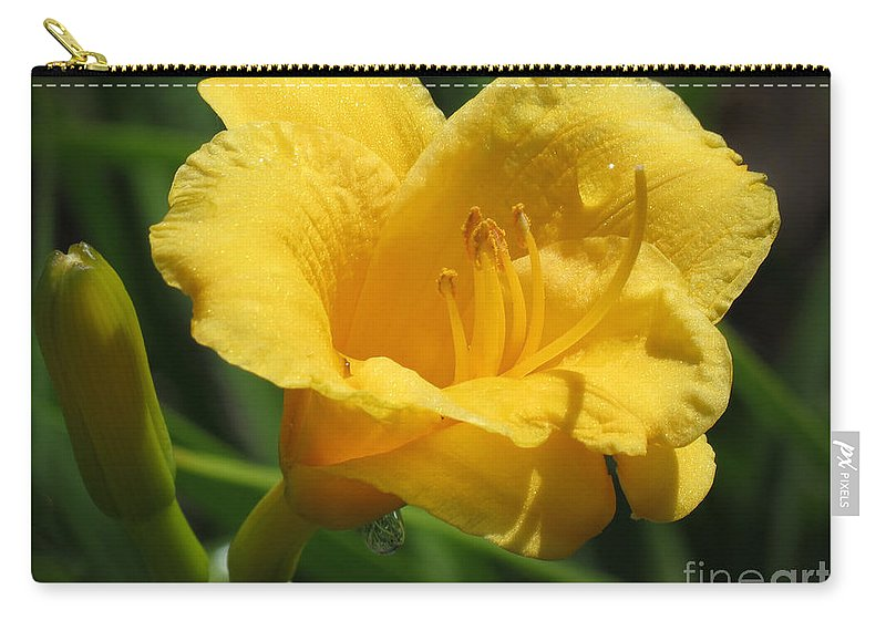 Daylily Carry-all Pouch featuring the photograph Yellow Tiger Lily by Darleen Stry