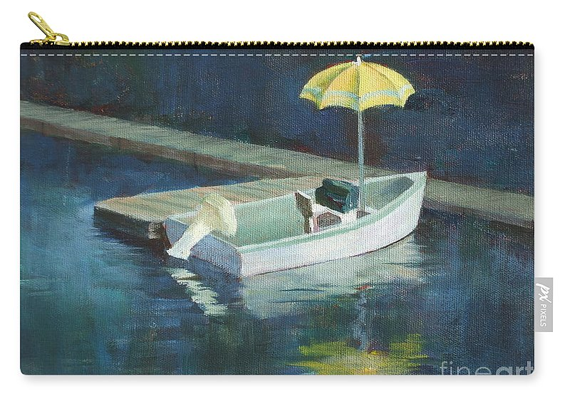 Outdoors Carry-all Pouch featuring the painting Yellow Umbrella by Claire Gagnon