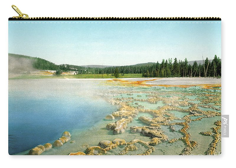 1902 Carry-all Pouch featuring the photograph Yellowstone: Hot Spring by Granger