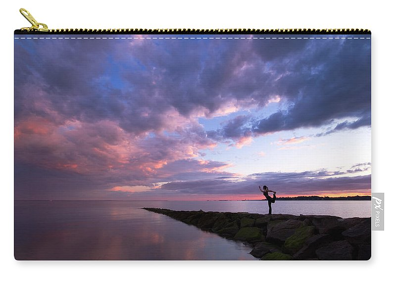 Yoga Carry-all Pouch featuring the photograph Yoga Dancer Asana On Beach Jetty by Stephanie McDowell