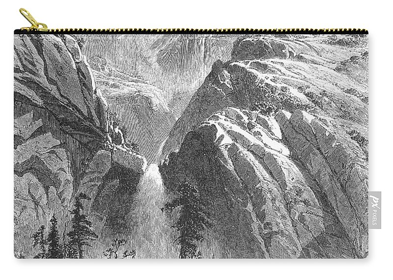 1874 Carry-all Pouch featuring the photograph Yosemite Falls, 1874 by Granger