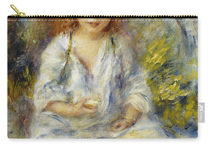 Impressionist; Impressionism; Female; Portrait; Seated; Sitting; Carry-all Pouch featuring the painting Young Algerian Girl by Pierre Auguste Renoir