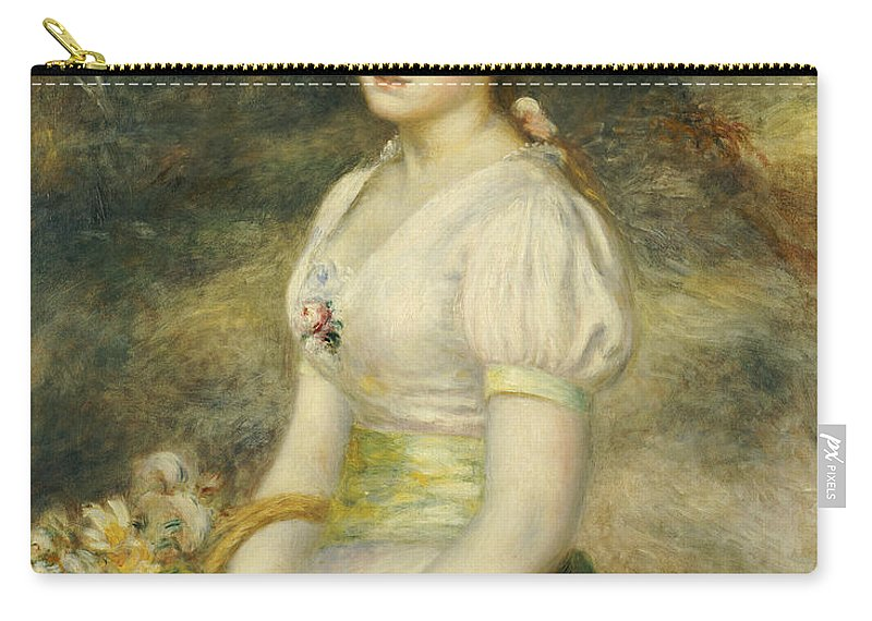 Impressionist; Impressionism; Portrait; Female; Three Quarter Length Carry-all Pouch featuring the painting Young Girl With A Basket Of Flowers by Pierre Auguste Renoir