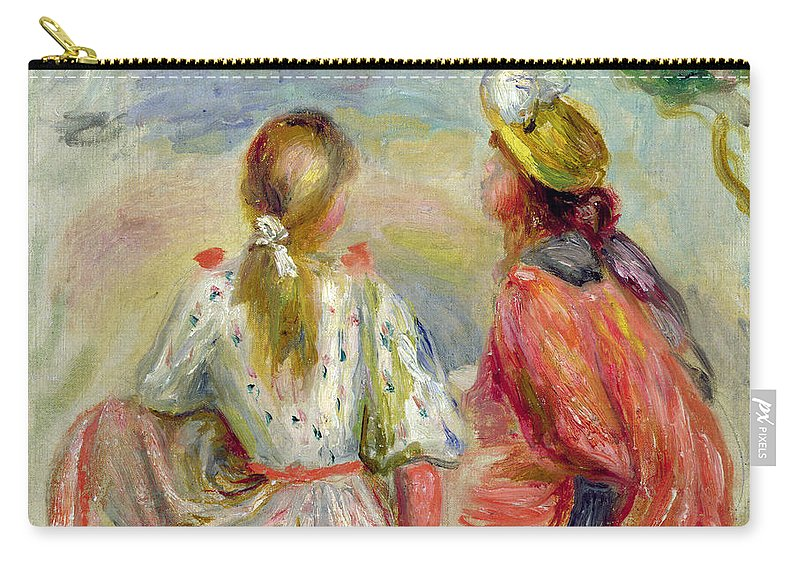 Jeune Filles Sur La Plage; Vacation; Holiday; Summer; Back View; Seaside; Sun Hat; Ponytail; Impressionist; Young Girls On The Beach Carry-all Pouch featuring the painting Young Girls On The Beach by Pierre Auguste Renoir