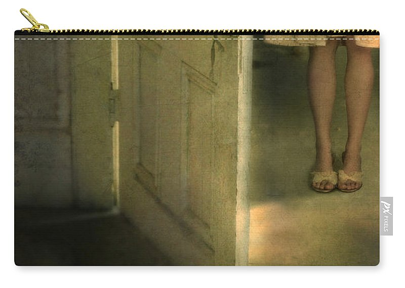 Woman Carry-all Pouch featuring the photograph Young Lady By Open Door by Jill Battaglia