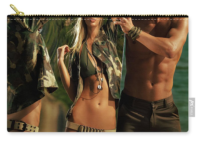 Couple Carry-all Pouch featuring the photograph Young Man Holding A Mirror For A Woman by Oleksiy Maksymenko