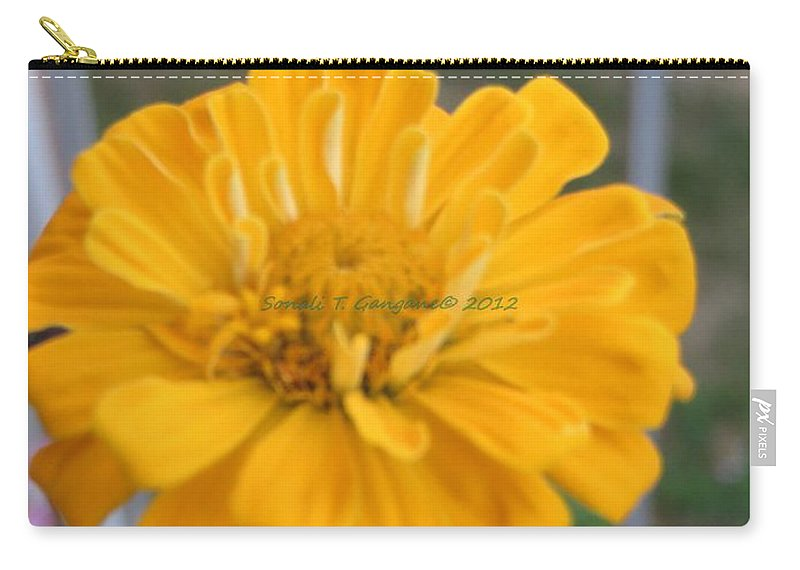 Amarillo Flower Carry-all Pouch featuring the photograph Zinnia Named After Zinn by Sonali Gangane
