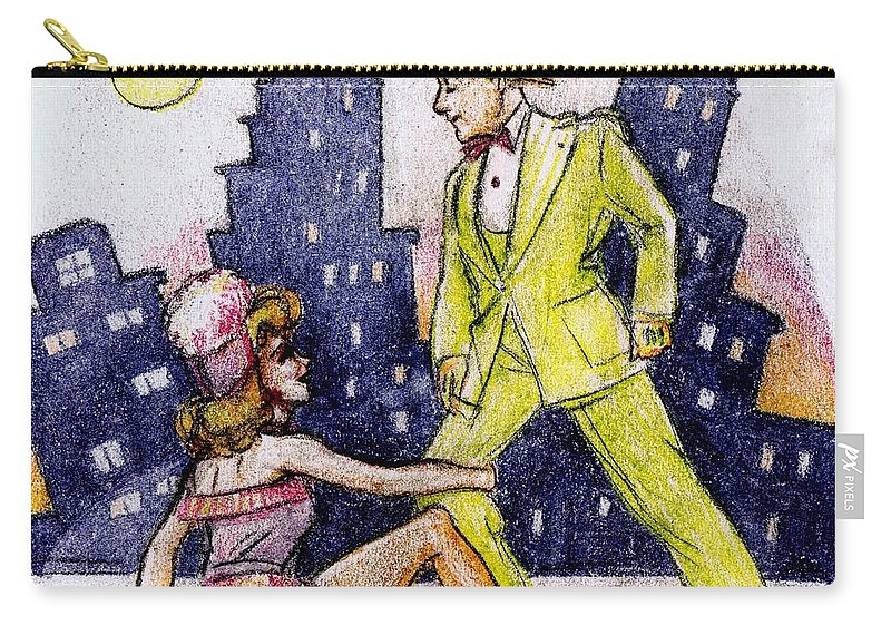 Nostalgia Carry-all Pouch featuring the drawing Zoot Suit by Mel Thompson