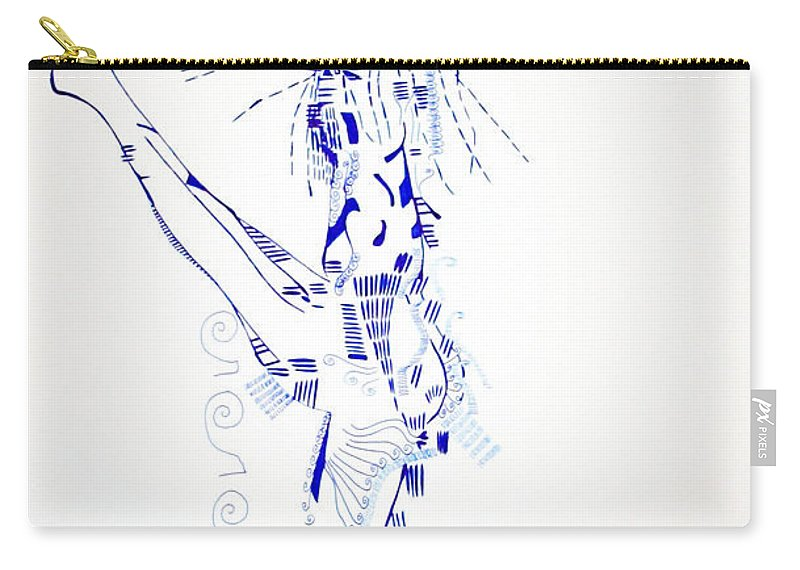Jesus Carry-all Pouch featuring the drawing Zulu Dance South Africa by Gloria Ssali