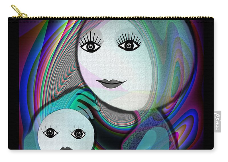 Mother And Child Carry-all Pouch featuring the painting 044 - Full Moon Mother And Child  by Irmgard Schoendorf Welch