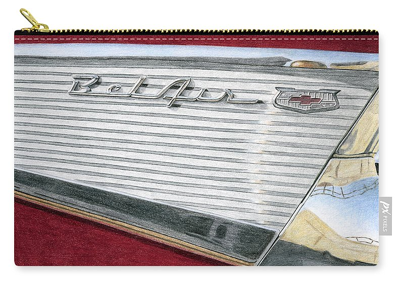 Classic Carry-all Pouch featuring the drawing 1957 Chevrolet Bel Air Convertible by Rob De Vries