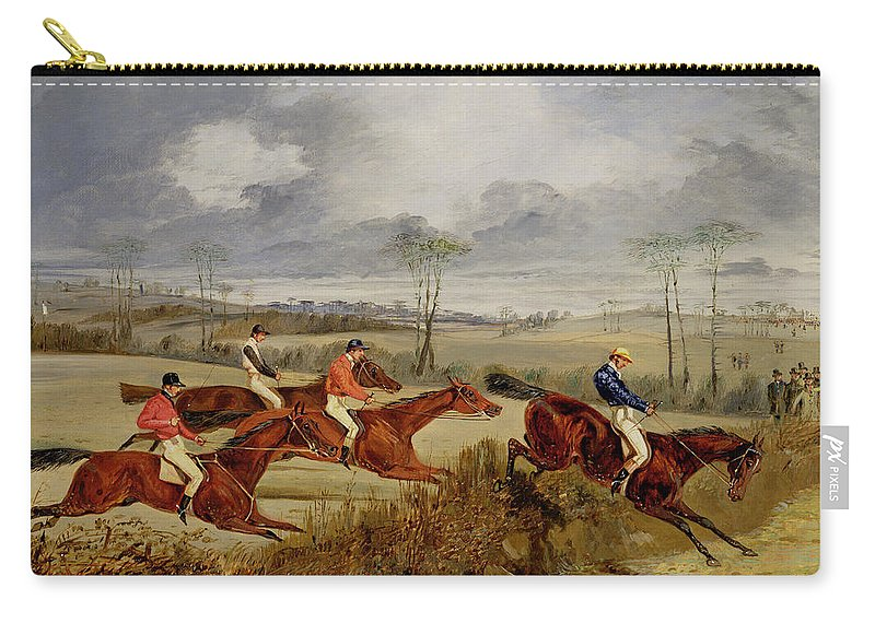 Steeplechase Carry-all Pouch featuring the painting A Steeplechase - Near The Finish by Henry Thomas Alken