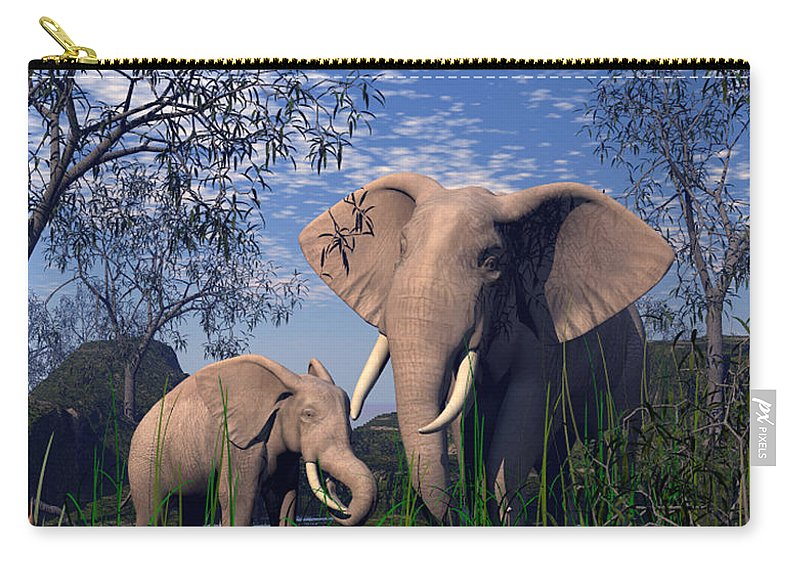 Elepant Carry-all Pouch featuring the digital art Baby Elepant An Mother At A Pond by John Junek