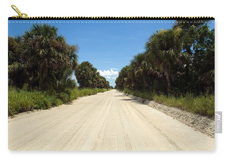 Florida; Road; Back; Backroad; Central; Dirt; Plow; Plowed; Clay; Mud; Muddy; Places; Unknown; Trave Carry-all Pouch featuring the photograph Back Road In Central Florida. by Allan Hughes