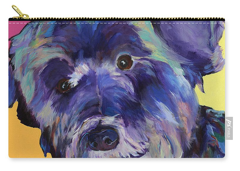 Schnauzer Acrylic Painting Carry-all Pouch featuring the painting Beau by Pat Saunders-White