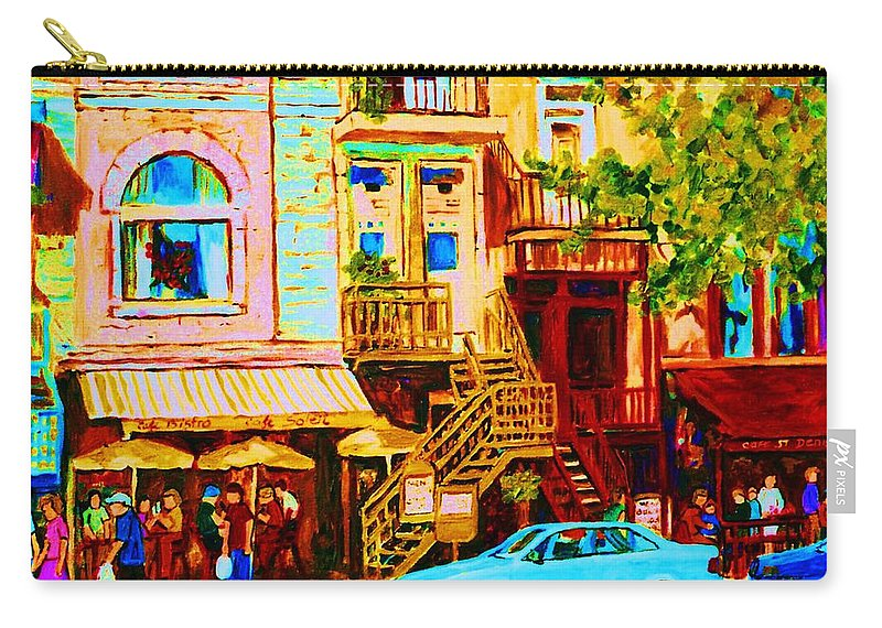 Cafe Art Carry-all Pouch featuring the painting Beautiful Cafe Soleil by Carole Spandau