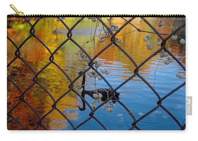 Landscape Carry-all Pouch featuring the photograph Black Swan On Watercolor by Trish Hale
