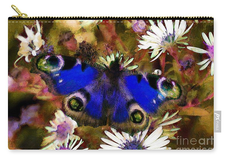 Blue Butterfly Carry-all Pouch featuring the drawing Blue Butterfly by Sergey Lukashin