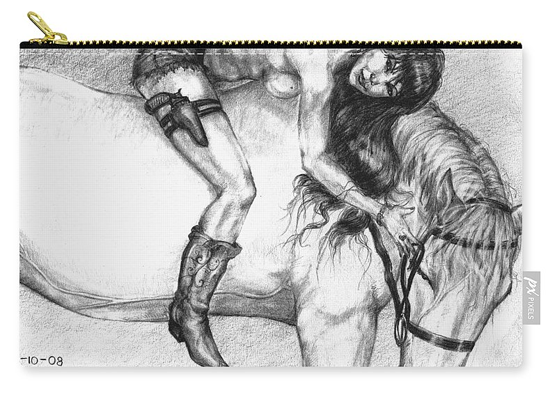 Cowgirl Carry-all Pouch featuring the drawing Cowgirl Riding A Hourse by Alban Dizdari