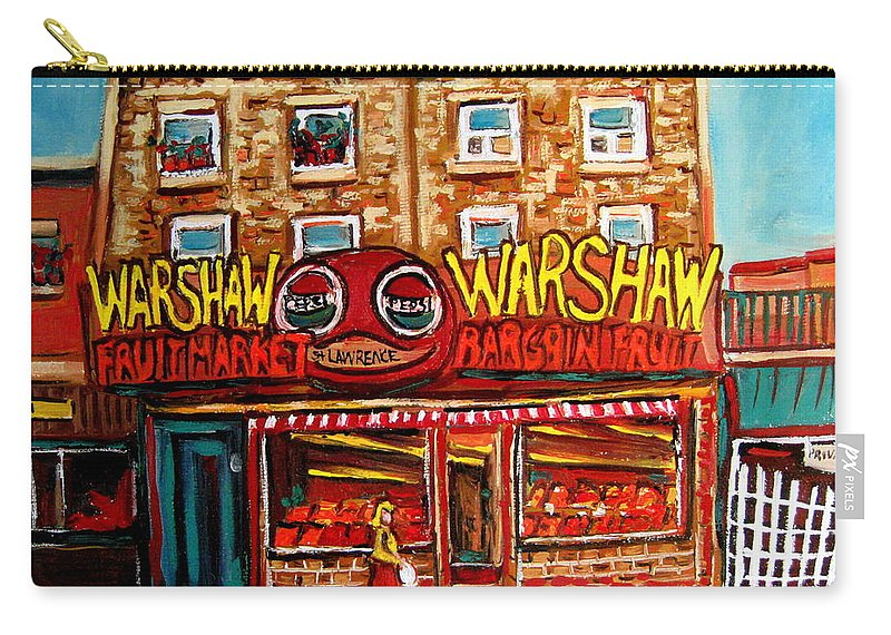 Warshaws Fruitmarket Carry-all Pouch featuring the painting Fifties Fruitstore by Carole Spandau