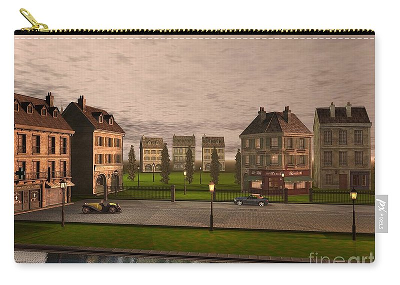 Cityscape Carry-all Pouch featuring the digital art French City Landscrape by John Junek