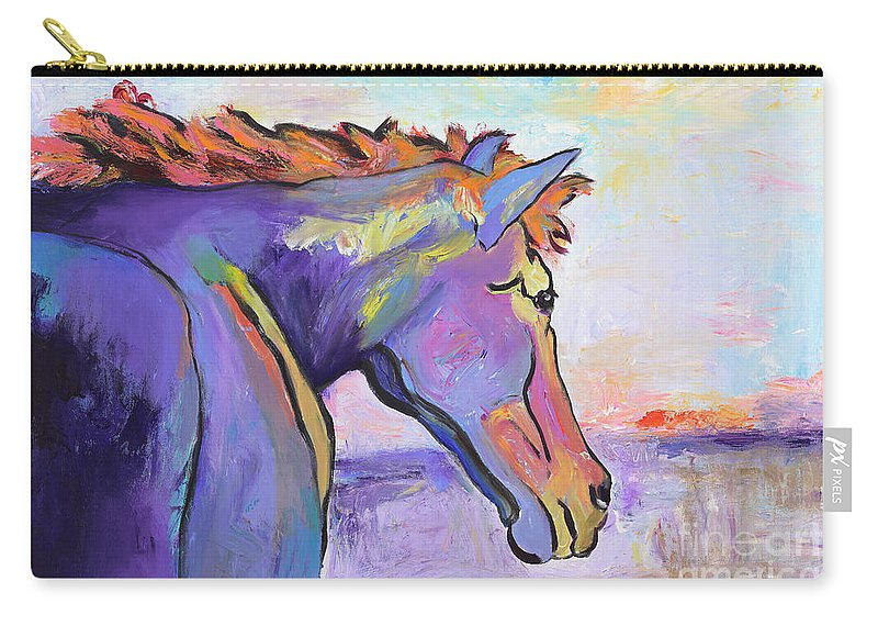 Purple Horse Carry-all Pouch featuring the painting Frosty Morning by Pat Saunders-White