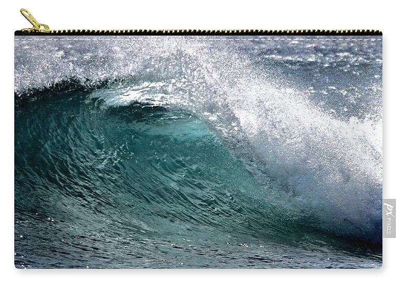 Cresting Carry-all Pouch featuring the photograph Green Cresting Wave, Hawaii by Debra Banks