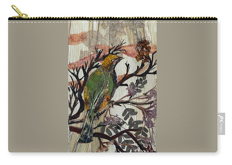 Green Bird Carry-all Pouch featuring the mixed media Green-yellow Bird by Basant Soni