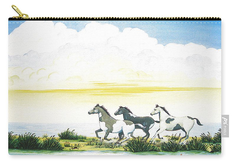 Chincoteague Carry-all Pouch featuring the painting Indian Ponies by Jerome Stumphauzer