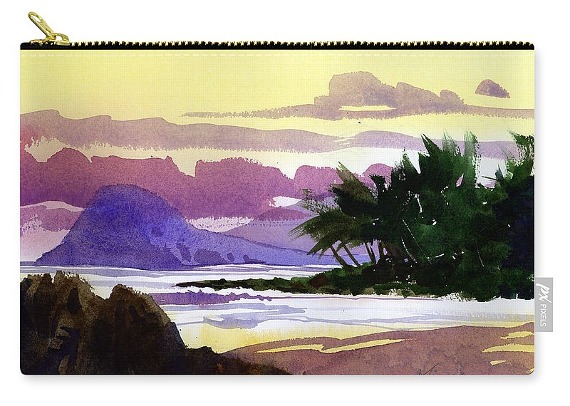 Shoreline Carry-all Pouch featuring the painting Ko Olina Sunset by Lee Klingenberg