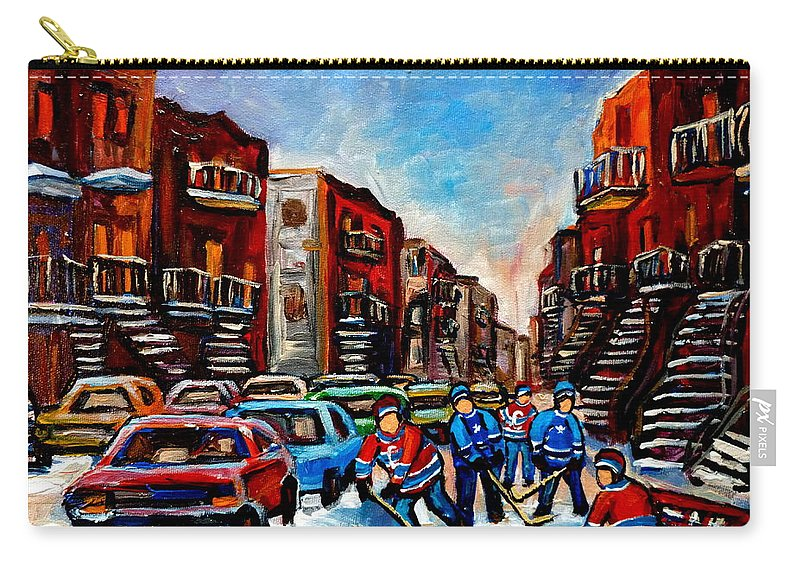 Montreal Carry-all Pouch featuring the painting Late Afternoon Street Hockey by Carole Spandau