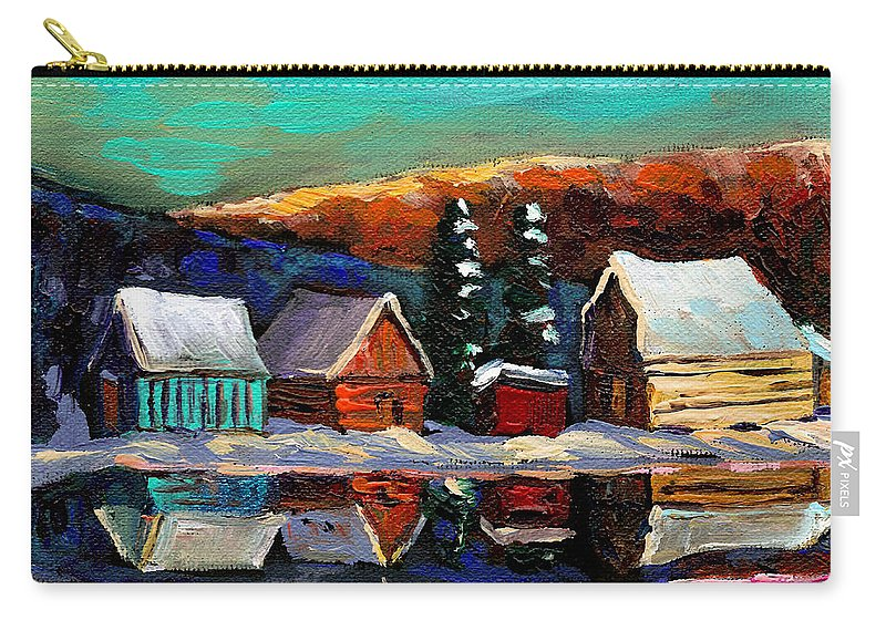 Quebec Winter Landscape Carry-all Pouch featuring the painting Laurentian Landscape Quebec Winter Scene by Carole Spandau