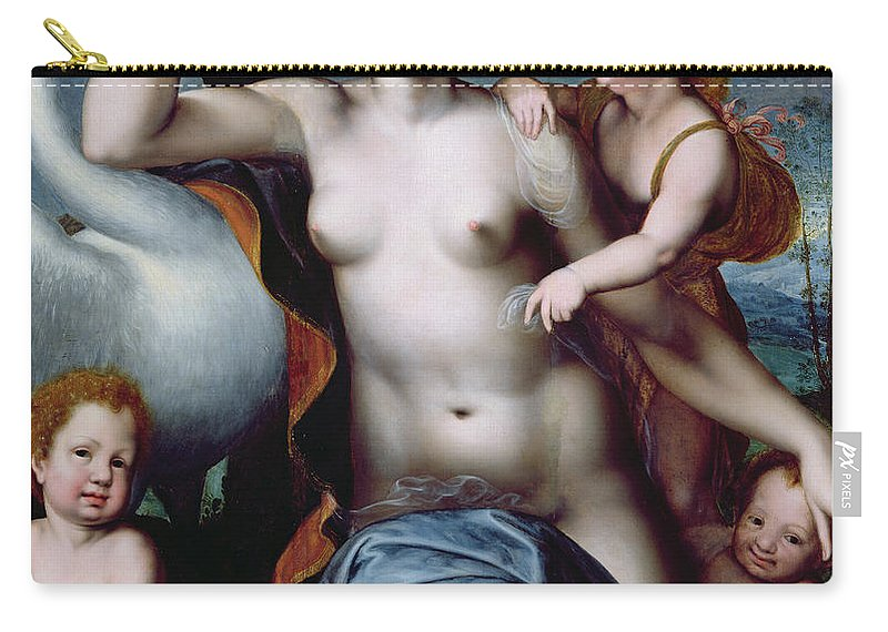 Leda Carry-all Pouch featuring the painting Leda And The Swan by Vincent Sellaer