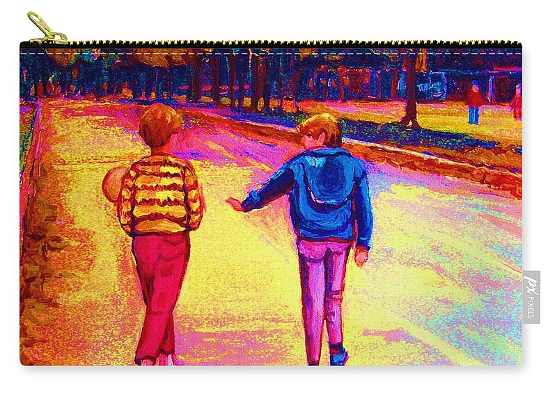 Children Carry-all Pouch featuring the painting Lets Play Ball At Beaverlake Park by Carole Spandau
