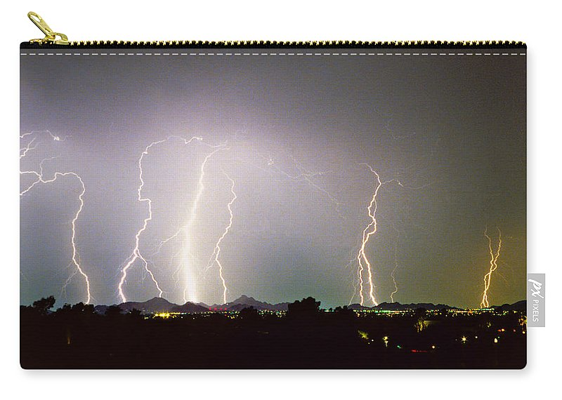 Arizona Carry-all Pouch featuring the photograph Lightning Thunderstorm View From Oaxaca Restaurant  by James BO Insogna