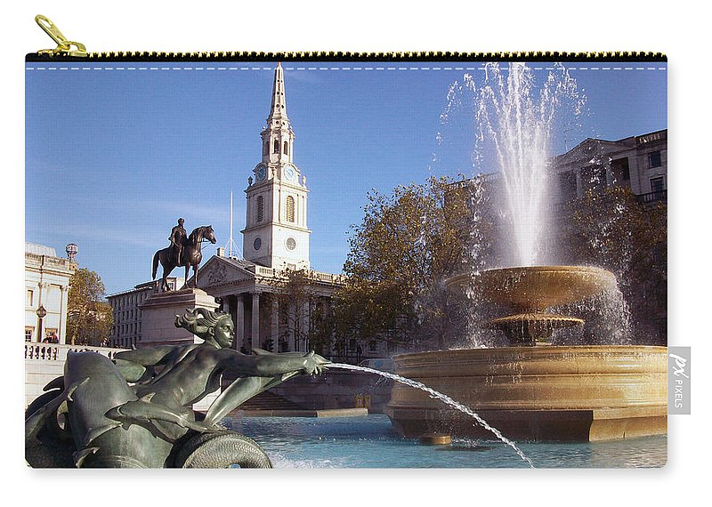 Trafalgar Square Carry-all Pouch featuring the photograph London - Trafalgar Square by Munir Alawi