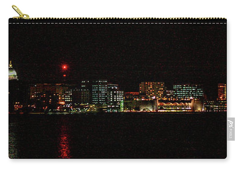 Madison Carry-all Pouch featuring the photograph Madison Wi Skyline At Night by Tommy Anderson