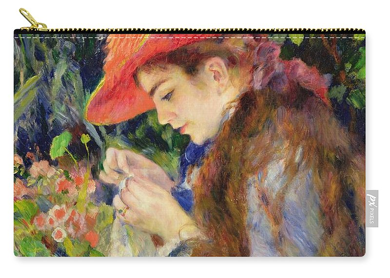 Female;portrait;hat;profile;concentration;concentrating;needlework;absorbed;impressionist;al Fresco;summer;domestic;colourful Carry-all Pouch featuring the painting Marie Therese Durand Ruel Sewing by Pierre Auguste Renoir