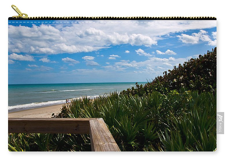Beach; February; Florida; Warm; Warmth; Temperature; Degrees; Weather; Sun; Melbourne; Sand; Shore; Carry-all Pouch featuring the photograph Melbourne Beach On The East Coast Of Florida by Allan Hughes