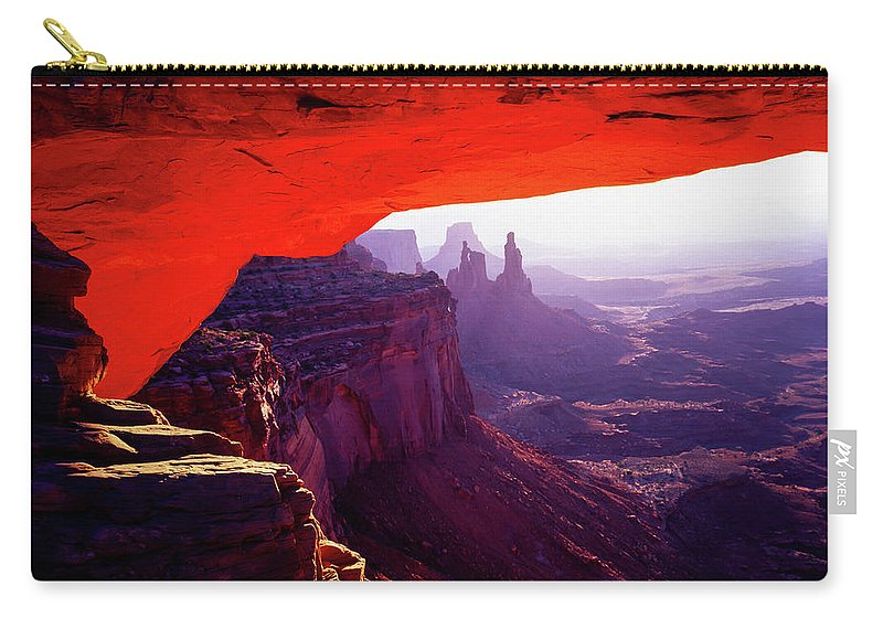 Canyonlands Carry-all Pouch featuring the photograph Mesa Arch Sunrise 3 by Tracy Knauer