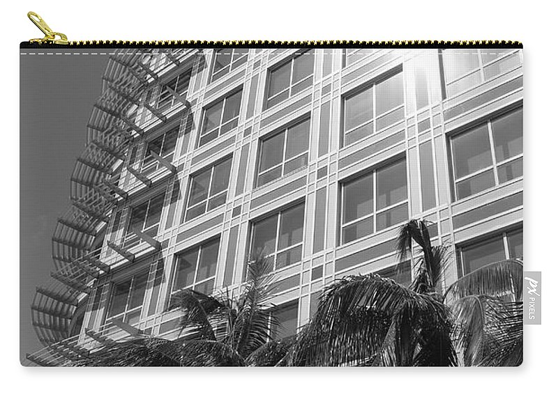 Black And White Carry-all Pouch featuring the photograph Miami House by Rob Hans