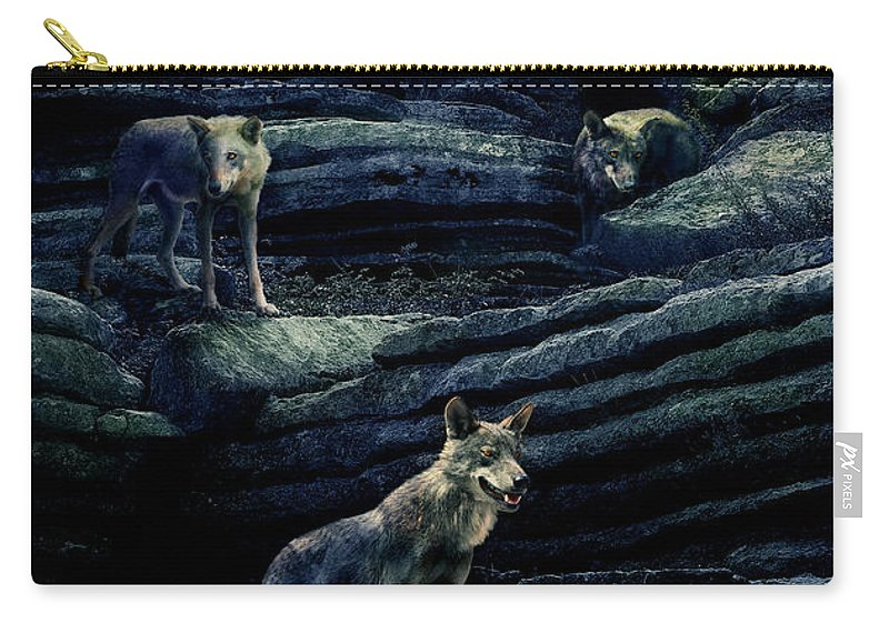 Wolf Carry-all Pouch featuring the photograph Moonlit Wolf Pack by Mal Bray