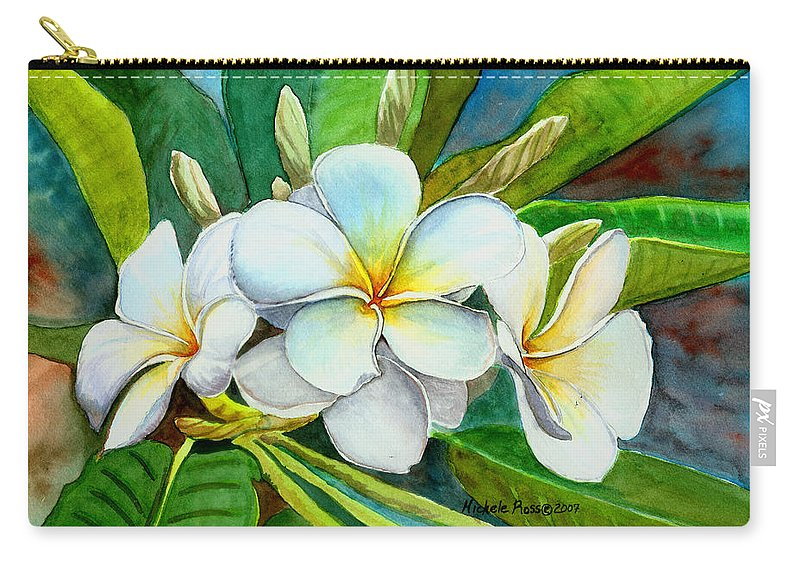 Plumeria Carry-all Pouch featuring the painting My Favorite by Michele Ross