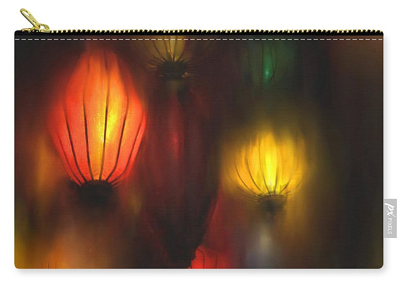 Lanterns Carry-all Pouch featuring the painting Orange Lantern by Stephen Lucas