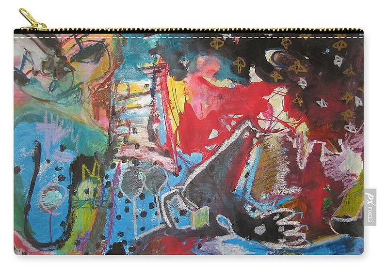 Original Carry-all Pouch featuring the painting Patty's Harbour Original Abstract Colorful Landscape Painting For Sale Blue Green Red by Seon-Jeong Kim