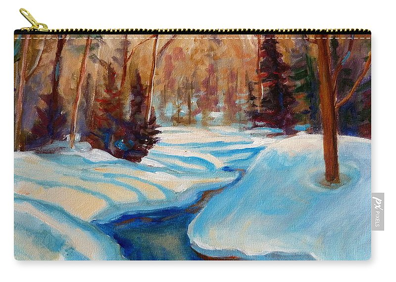 Peaceful Winding Stream Carry-all Pouch featuring the painting Peaceful Winding Stream by Carole Spandau