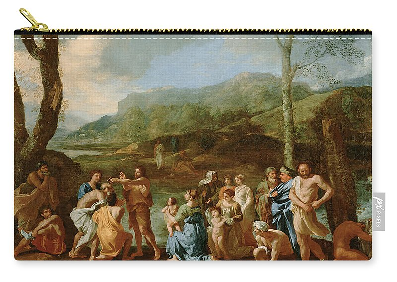 Nicolas Poussin Carry-all Pouch featuring the painting Saint John Baptizing In The River Jordan by Nicolas Poussin